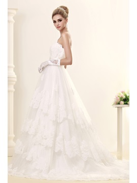 Gorgeous A-line Strapless Chapel Trian Tiered Dasha's Wedding Dress