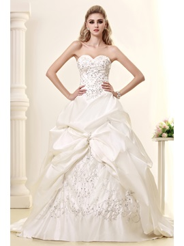 Pretty A-Line Sweetheart Embroidery & Pick-ups Court Train Dasha
