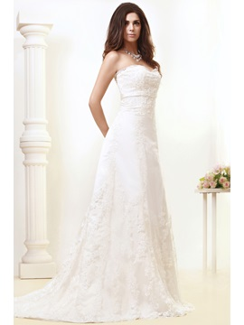 Gorgeous A-line Sweetheart Appliques Court Train Taline's Wedding Dress