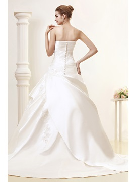 Fashion Strapless Chapel Train Embroidery Angerlika's Wedding Dress