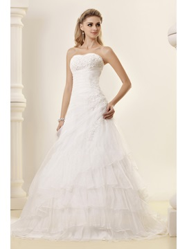Gorgeous Strapless A-line Chapel Train Tiered Dasha