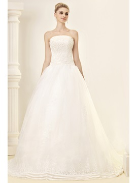 Gorgeous Bowknot Strapless Chapel Train Appliques Dasha