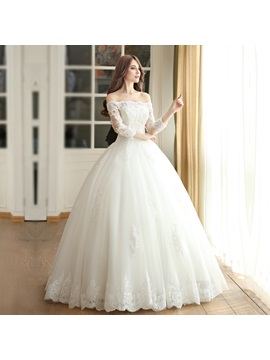 Long Sleeve Beading Appliques Ball Gown Wedding Dress