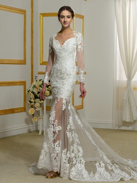 Sexy Backless Lace Mermaid Wedding Dress With Sleeves