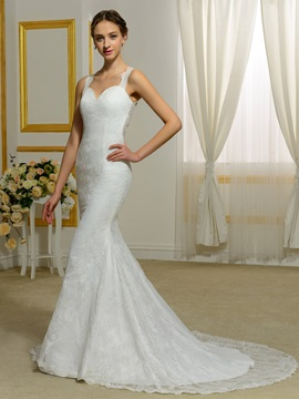 Straps Lace Mermaid Backless Wedding Dress