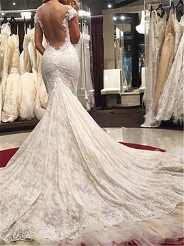 Cap Sleeves Appliques Lace Mermaid Sexy Backless Wedding Dress