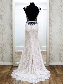 Open Back Appliques Sheath Sweep Train Backless Lace Wedding Dress