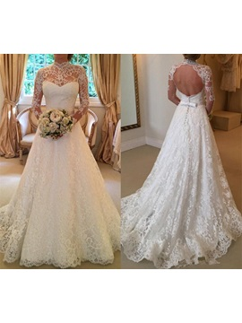 Backless High Neck Long Sleeves Lace Wedding Dress