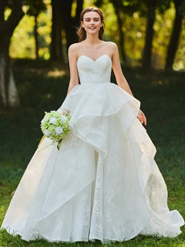 Layered Lace Sweetheart Ball Gown Wedding Dress