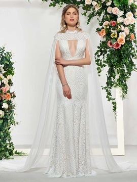 Mermaid Hollow High Neck Lace Wedding Dress 2019 with Train
