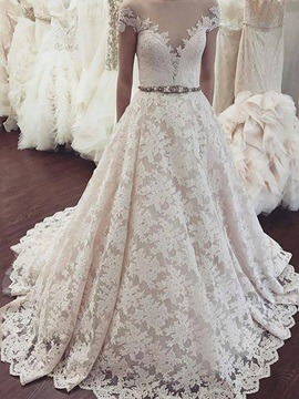 Appliques Lace Cap Sleeve Beading Wedding Dress 2019