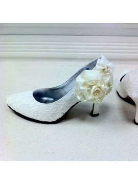 Elegant Lace Upper Stiletto Heel Pumps/ Slingbacks With Freshwater White Pearls Wedding/ Party Shoes