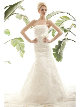 Gorgeous Trumpet/Mermaid Appliques Strapless Nastye's Wedding Dress With Jacket/Shawl