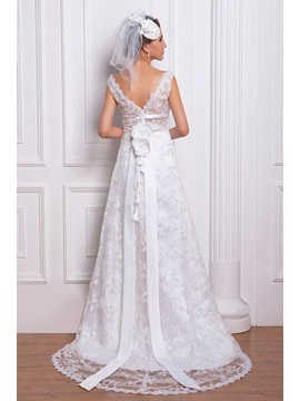 Amazing Lace Column V-Neck Chapel Train Renata's Wedding Dress