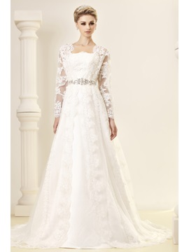 Gorgeous A-Line/Princess Strapless Chapel Embroidery Dasha's Wedding Dress With Jacket/Shawl