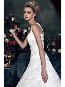 Gorgeous One-Shoulder A-Line/Princess Sweetheart Chapel Appliques Dasha's Wedding Dress