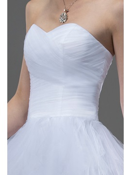 Court Train A-line Ruffles Wedding Dress