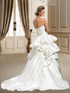 Strapless Beading&Sequins Pick-ups Chapel Train A-Line Wedding Dress