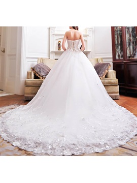 Beaded Flowers Appliques Ball Gown Wedding Dress