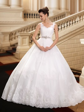 Dazzling V-Neck Straps Rhinestone Waist Ball Gown Wedding Dress