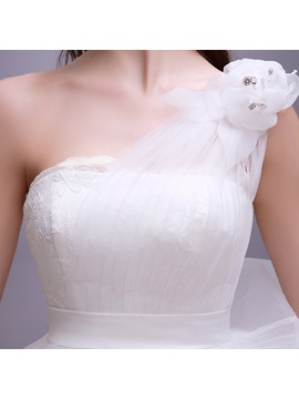 Simple Style Floral One Shoulder Floor Length White Ball Gown Wedding Dress
