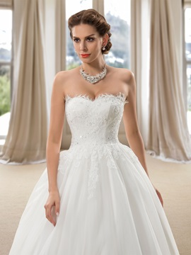 Strapless Lace Appliques Ball Gown Sequins Wedding Dress