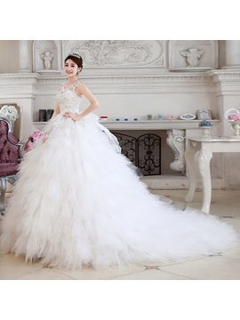 Dramatic Straps Beaded Appliques Tierd Tulle Wedding Dress