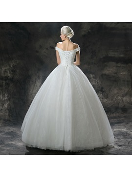 Lace Off the Shoulder Princess Ball Gown Wedding Dress