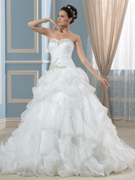 Beaded Oganza Ruffles Strapless A-Line Wedding Dress