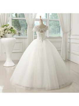 Sweet Sheer Lace Short Sleeve Ball Gown Wedding Dress