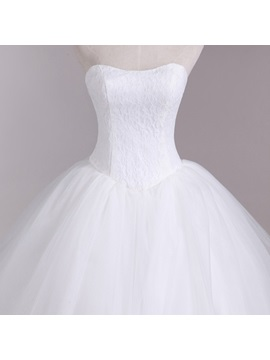 Strapless Lace Top Floor Length Ball Gown Wedding Dress