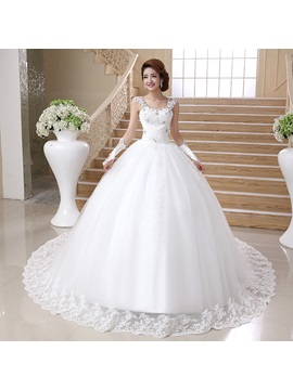 Cathedral Ball Gown Beaded Spaghetti Straps White Tulle Wedding Dress