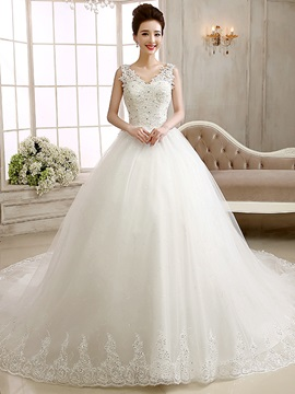 Glittering Ball Gown Beaded Lace V-Neck Appliques Wedding Dress