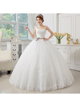Floor Length Ball Gown Floral One Shoulder Princess Wedding Dress
