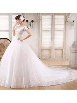Floor Length Ball Gown Beaded Lace Off the Shoulder Short Sleeve Chapel Wedding Dress