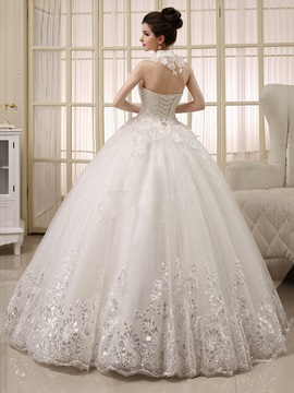 Sequined Appliques Pearls Ball Gown Wedding Dress
