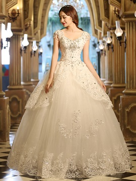 Royal Lace Beading Crystal Ball Gown Wedding Dress