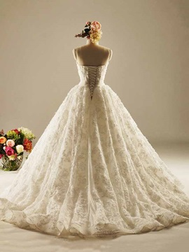 High Quality Lace-Up Ball Gown Lace Wedding Dress