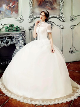 Vintage High Neck Short Sleeve Ball Gown Wedding Dress
