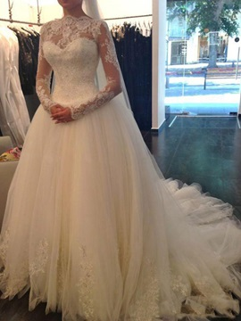 Lace Long Sleeve Sequins Ball Gown Wedding Dress