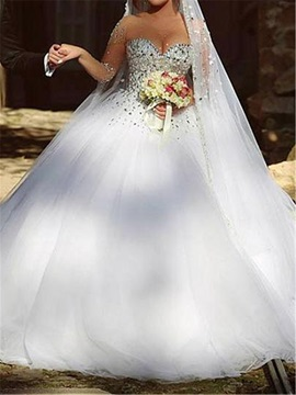 Sheer Neck Beaded Ball Gown Wedding Dress with Long Sleeve