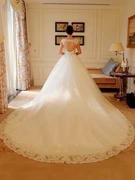 Beaded Lace Appliques Open Back Ball Gown Wedding Dress