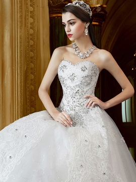 Floor Length Beaded Sweetheart Ball Gown Wedding Dress