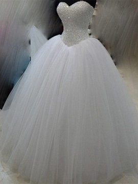 Sweetheart Beaded Bodice Ivory Tulle Ball Gown Wedding Dress