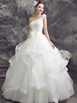 One Shoulder Appliques Beading Flowers Ball Gown Wedding Dress
