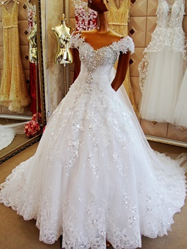 Rhinestone Beaded Off the Shoulder Cap Sleeve Wedding Dress