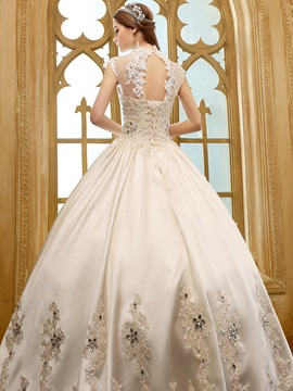 Beaded Lace High Neck Ball Gown Wedding Dress
