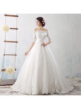 Ball Gown Off the Shoulder Half Sleeves Appliques Wedding Dress