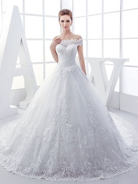 Off the Shoulder Appliques Lace Ball Gown Wedding Dress