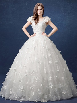 V-Neck Floral Cap Sleeve Lace Ball Gown Wedding Dress